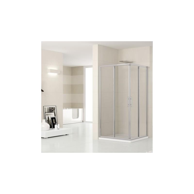 Novellini lunes angle 84 dimension extensible de 84 87 cm verre trempe transparent silver - Porte de douche extensible ...