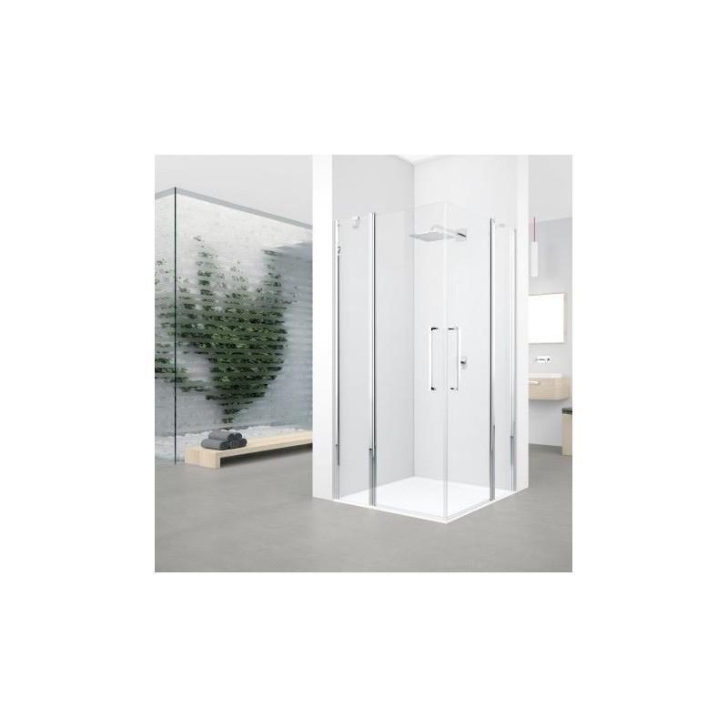 Novellini young 2 a 79 extensible 79 81cm vitrage satin silver banio salle de bain badkamers - Porte de douche extensible ...