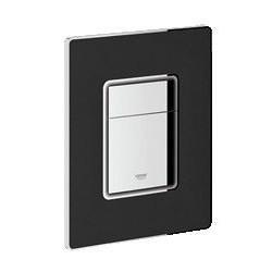 Grohe Plaque de commande Cosmo cuir noir pour WC avec touches chromé - 156x197 mm
