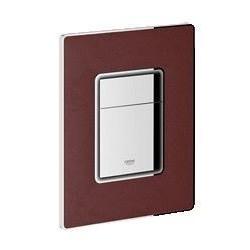 Grohe Plaque de commande Cosmo en cuir rouge pour WC et touches chromé - 156x197 mm