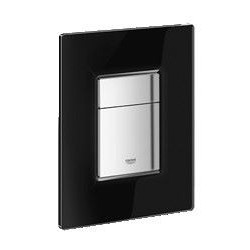 Grohe Plaque de commande Cosmo Glass pour WC, 156 x 197 mm, chromé/verre noir