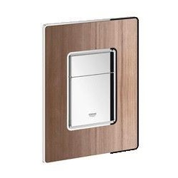Grohe Plaque de commande Cosmo Wood pour WC, 156 x 197 mm, montage vertical ou horizontal, chromé/American walnut