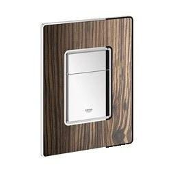 Grohe Plaque de commande Cosmo Wood pour WC, 156 x 197 mm, montage vertical ou horizontal, chromé/Macassar