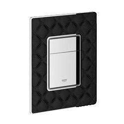 Grohe Plaque de commande en cuir broché pour WC, 156 x 197 mm, chromé/cuir noir broché