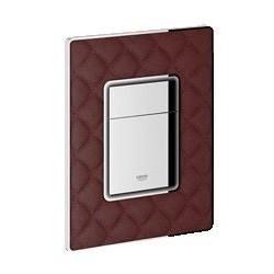 Grohe Plaque de commande en cuir broché pour WC, 156 x 197 mm, chromé/cuir rouge broché