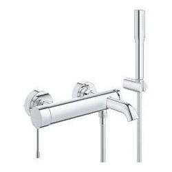 """Grohe Essence mitigeur monocommande ½"""" bain/douche avec set de bain, montage mural, chromé"""