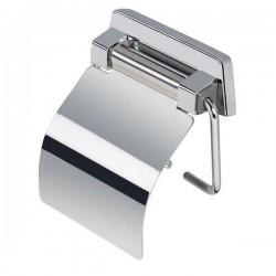 GEESA Porte-papier rouleau avec couvercle brillant d'acier inoxydable