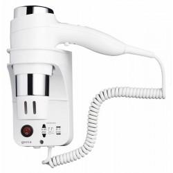 GEESA Haardroger 1600 W, 3 snelheden, scheerstopcontact 110 + 220 V, wit/chroom
