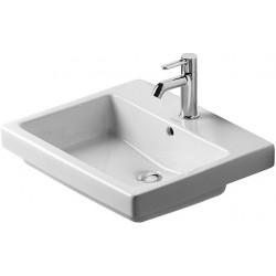 DURAVIT Vero VASQUE 55 cm à encastrer par le dessus, avec trop-plein, 550 mm sans trou pour le robinet