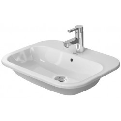 DURAVIT Happy D.2 VASQUE 600mm Happy D.2 BLANC ENC/DESsuspendu ,.avec TP, av. PDR, 3 TR