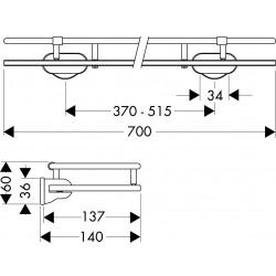 Axor Hansgrohe tablette en verre 700mm chr