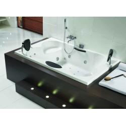 riho claudia 190x120 blanche commande lcd avec r chauffeur repose t te de couleur noir clairage. Black Bedroom Furniture Sets. Home Design Ideas
