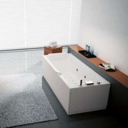 Novellini  calos 160x70 whirlpool hydrojet et télécommande on/off vidange automatique blanc  2 tabliers finition chrome