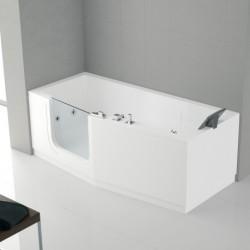 Novellini  iris baignoire à porte  180x85 droite whiairdestelec.avec robinetterie sur la baignoire blanc  1 tablier finition ch