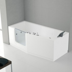 Novellini  iris baignoire à porte  180x85 gauche whiairdestelec.avec robinetterie sur la baignoire blanc  1 tablier finition ch