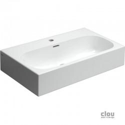 clou Match Me lavabo, avec 1 trou pour robinet, avec 2 points d'amorçage, sans bonde libre, céramique blanche. À suspend