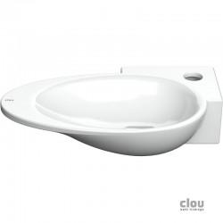 clou First vasque lave-mains avec trou pour robinet et bonde libre, à droite, céramique blanche