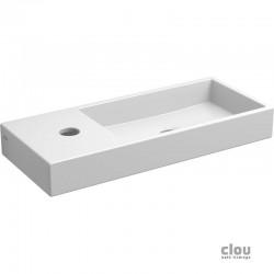 clou Mini Wash Me lave-mains avec trou pour robinet, sans bonde, à gauche, céramique blanche. À suspendre ou à poser. Il