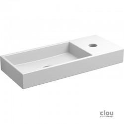 clou Mini Wash Me lave-mains avec trou pour robinet, sans bonde, à droite, céramique blanche. À suspendre ou à poser. Il
