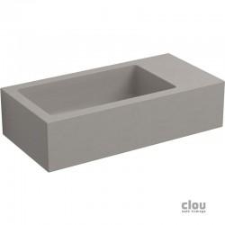 clou Flush 3 lave-mains sans trou pour robinet, avec bonde libre, à droite, béton