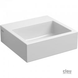 clou Flush 1 lave-mains sans trou pour robinet, avec bonde libre, céramique blanche