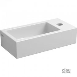 clou Flush 3 lave-mains avec trou pour robinet et bonde libre, à droite, céramique blanche