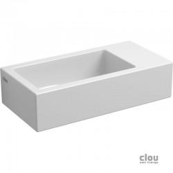 clou Flush 3 lave-mains sans trou pour robinet, avec bonde libre, à droite, céramique blanche