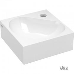 clou Flush 5 lave-mains angulaire avec trou pour robinet et bonde libre, céramique blanche