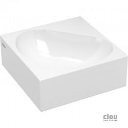 clou Flush 5 lave-mains angulaire sans trou pour robinet, avec bonde libre, céramique blanche