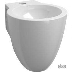 clou Flush 6 lave-mains avec trou pour robinet, bonde libre et siphon, céramique blanche