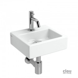 clou InBe set de lave-mains, comportant lave-mains, robinet eau froide, bonde libre et siphon, céramique blanche et chro