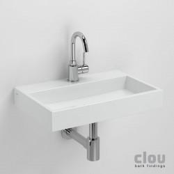 clou Mini Wash Me Plus lave-mains avec trou pour robinet, sans bonde, céramique blanche. À suspendre ou à poser. Il faut