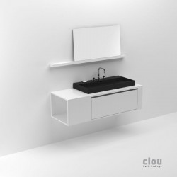 clou wash me commode haute avec tiroir int rieur laque blanche brillante pour lavabo 90cm. Black Bedroom Furniture Sets. Home Design Ideas