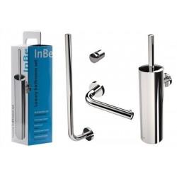 clou InBe set d'acessoires comportant porte-balai, porte-rouleau, porte-rouleau de réserve et patère, chrome. Par boîte