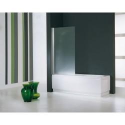 Novellini  aurora 1 paroi pivotante pour baignoire 85x150 cm verre trempe transparent  silver