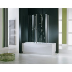 Novellini  aurora 4 cabine pour baignoire  75x150 cm verre trempe transp. chrome