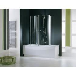 Novellini  aurora 4 cabine pour baignoire  80x150 cm verre trempe transp. silver