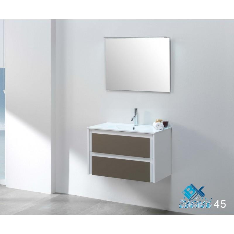 meuble deux tiroirs soft close l80xh50xp46 cm couleur pizarrablanc vasque de 80 cm en porcelaine miroir norma avec clairage applique led de 80x60 cm tous