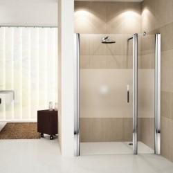 Novellini  Giada G+F porte pivotante avec paroi fixe en alignement 102 droite  102-108 verre trempe transparent  silver