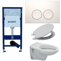 Pack toilette suspendue Geberit complet touche blanche ideal standard