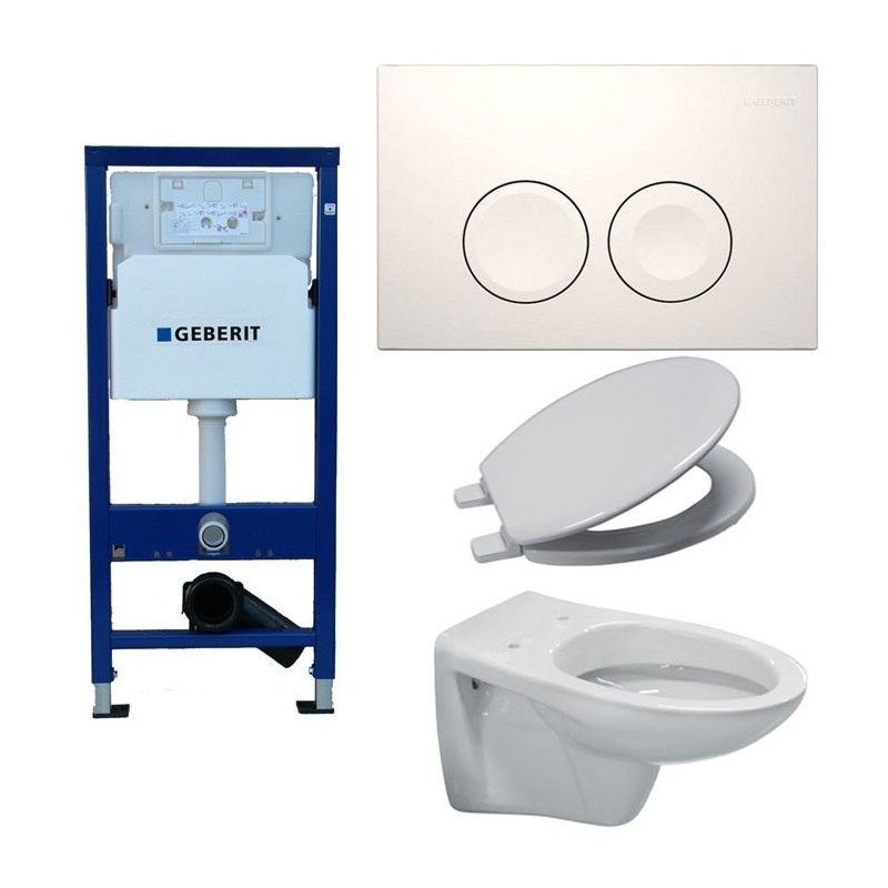 Pack toilette suspendue geberit complet touche blanche - Pack toilette suspendu ...