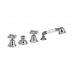 PONSI Viareggio Melangeur baignoire 4 trous  à monter sur le bain avec douchette à main et flexible nickel brillant