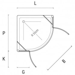 ponsi paroi de douche en angle 1 4 de rond 900x900 bbplatse90. Black Bedroom Furniture Sets. Home Design Ideas