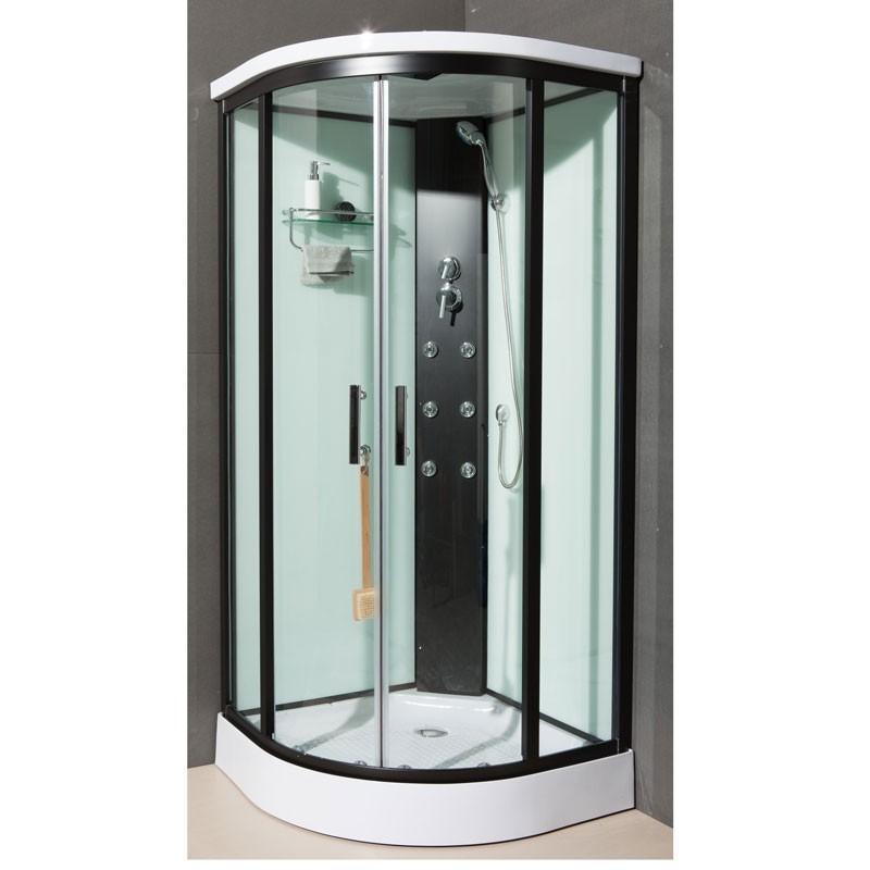 cabine de douche dakota mitigeur mecanique de 90x90x211 cm noir banio. Black Bedroom Furniture Sets. Home Design Ideas