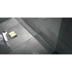 Caniveau de douche de  120 cm hauteur de 7 cm  avec cadre en inox avec pieds avec plaque de finition à carreler