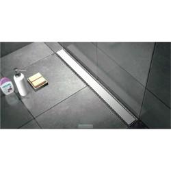Caniveau de douche de  90 cm hauteur de 7 cm  avec cadre en inox  avec pieds avec plaque de finition pleine et pieds