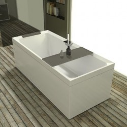 Novellini  diva 170x70 dynamic airjets télécommande blanc 4 tablier finition blanc