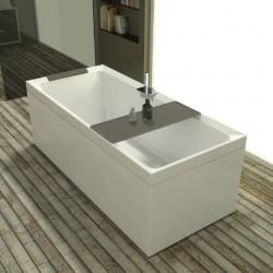 Novellini  diva 180x80 dynamic airjets télécommande avec  robinetterie sur la baignoire  blanc mat 4 tablier finition blanc ray