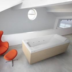 Novellini  sense 4 170x75 whirlpool désinfection télécommande  avec cadre avec robinetterie sur la baignoire  blanc  4 tablier