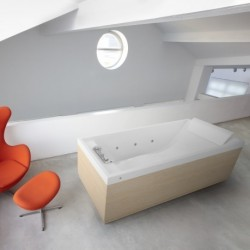 Novellini  sense 4 170x70 whirlpool désinfection télécommande  avec cadre blanc mat 4 tablier finition burlington